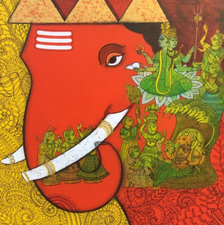 Mukesh Diliprao Hattarge | Mixed-media Painting title Ganesha on Canvas | Artist Mukesh Diliprao Hattarge Gallery | ArtZolo.com