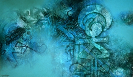 Abstract 2 | Painting by artist Ram Kasture | calligraphy | Canvas