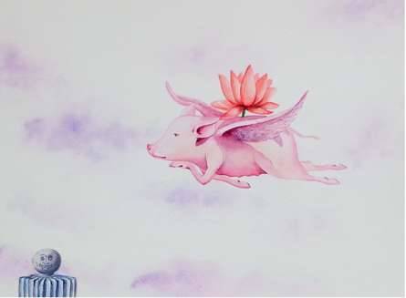 Animals Watercolor Art Painting title 'Flying Nature' by artist Sanjay Kumar