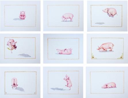 Animals Watercolor Art Painting title 'Pig' by artist Sanjay Kumar