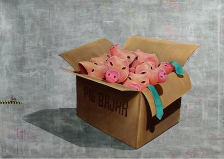 contemporary Acrylic Art Painting title Pink Mask by artist Sanjay Kumar
