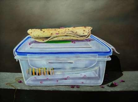 contemporary Acrylic Art Painting title Lunch Box by artist Sanjay Kumar