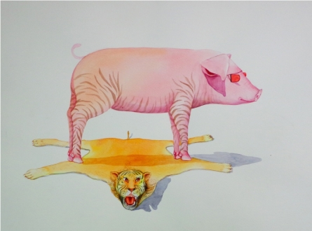 Animals Watercolor Art Painting title 'Untitle 6' by artist Sanjay Kumar