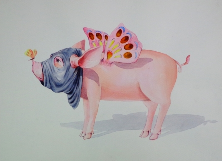 Animals Watercolor Art Painting title 'Untitled 7' by artist Sanjay Kumar