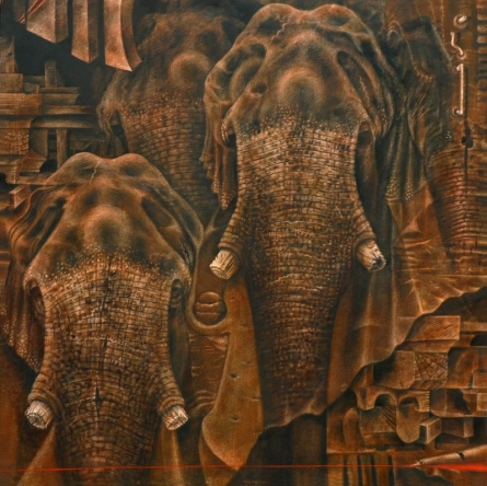 Animals Oil Art Painting title 'How Many More' by artist Vikram Nayak