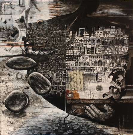 Resonationg With Me Ii | Painting by artist Vikram Nayak | mixed-media | Canvas