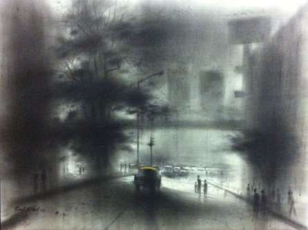 Charcoal Paintings | Drawing title Busy Road on Canvas | Artist Ravi Sthul