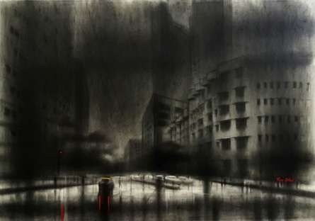 Cityscape Charcoal Art Drawing title City by artist Ravi Sthul