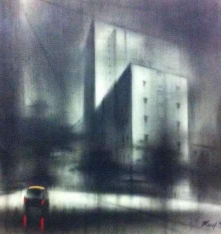 Cityscape Charcoal Art Drawing title 'Lonely Car' by artist Ravi Sthul