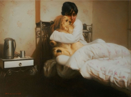 Her Pet | Painting by artist Anupam Halder | oil | Canvas