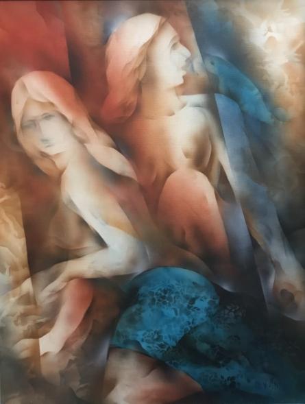 Figurative Acrylic Art Painting title 'Floating Forms' by artist Vishnu Sonavane