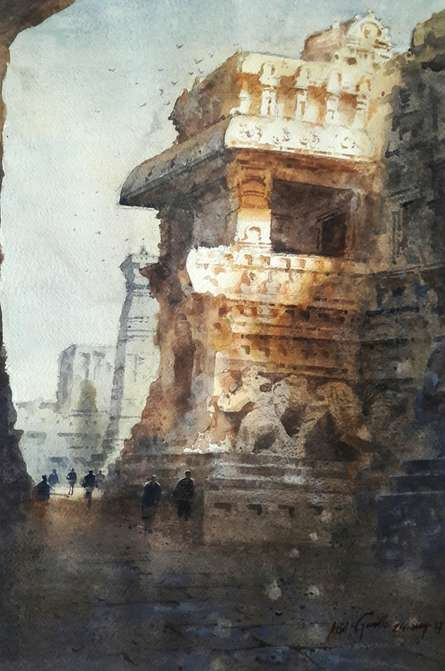 Cityscape Watercolor Art Painting title 'Ellora 2' by artist Atul Gendle