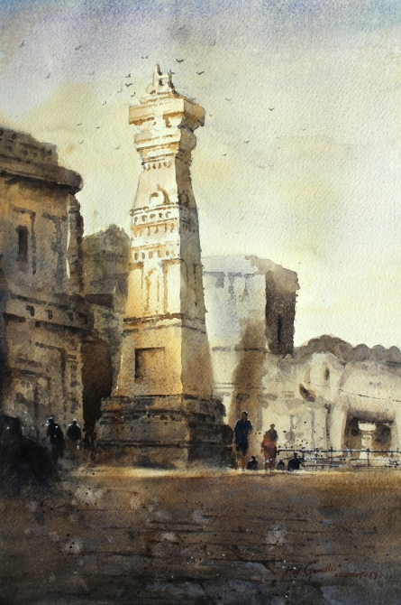 Cityscape Watercolor Art Painting title 'Ellora' by artist Atul Gendle