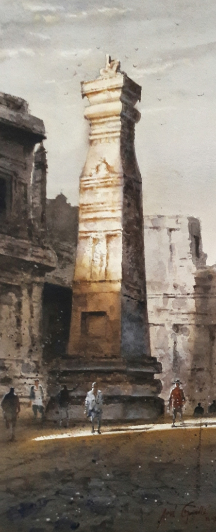 Cityscape Watercolor Art Painting title Ellora 3 by artist Atul Gendle