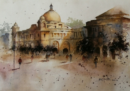 Atul Gendle | Watercolor Painting title Old Architecture on Paper | Artist Atul Gendle Gallery | ArtZolo.com