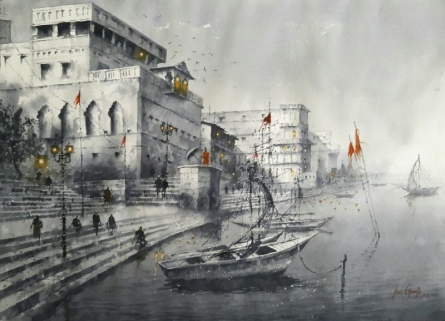 Cityscape Watercolor Art Painting title Varanasi by artist Atul Gendle