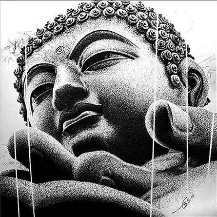 Buddha Blessing. | Drawing by artist Pratap Chakraborty |  | Pen&Ink | Paper