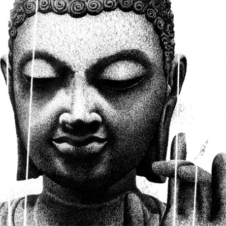 Buddha Blessing 2 | Drawing by artist Pratap Chakraborty |  | Pen&Ink | Paper