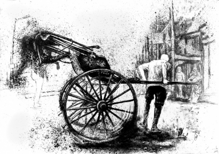 Figurative Charcoal Art Drawing title 'The City Dust Charcoal On Paper' by artist Pratap Chakraborty