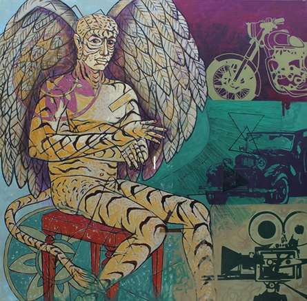 Figurative Acrylic Art Painting title Home Land by artist Abhishek Chourasia