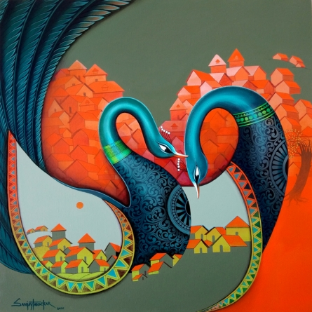 Animals Acrylic Art Painting title 'Affection 12' by artist Sanjay Tandekar
