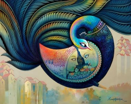 Figurative Acrylic Art Painting title 'Affection 16' by artist Sanjay Tandekar