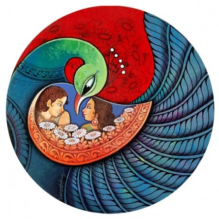 Figurative Acrylic Art Painting title Affection 24 by artist Sanjay Tandekar