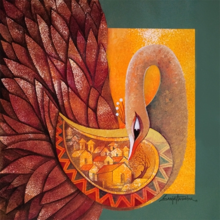 Animals Acrylic Art Painting title 'Fascination 1' by artist Sanjay Tandekar