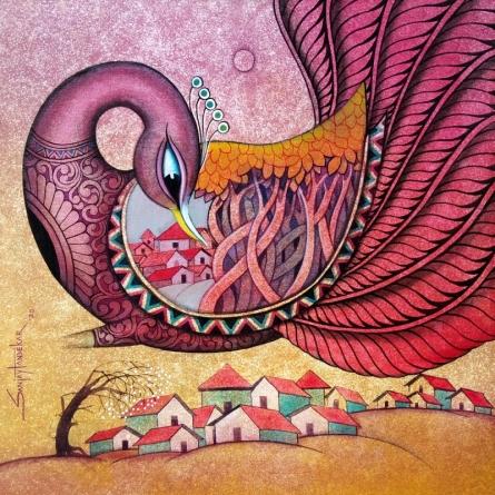 Figurative Acrylic Art Painting title 'Fascination 3' by artist Sanjay Tandekar