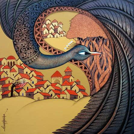 Figurative Acrylic Art Painting title 'Fascination 4' by artist Sanjay Tandekar
