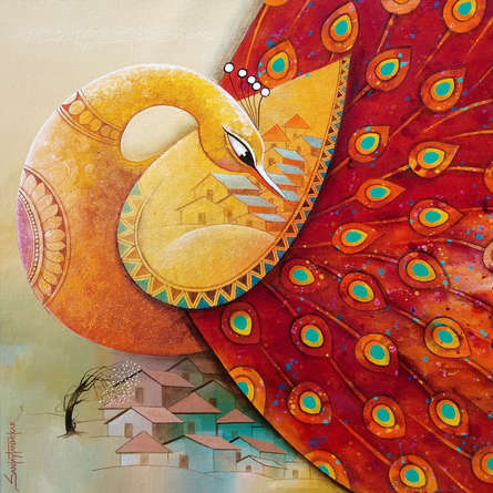 Animals Acrylic Art Painting title Fascination 8 by artist Sanjay Tandekar