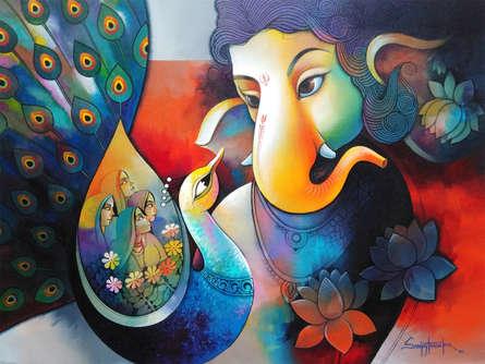 Religious Acrylic Art Painting title 'Ganesha 5' by artist Sanjay Tandekar