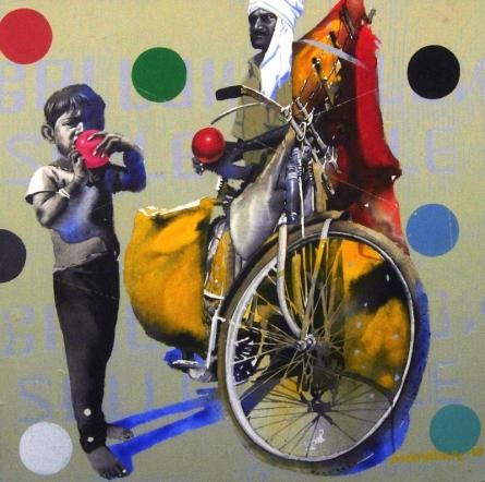 Figurative Acrylic Art Painting title Balloon Seller 3 by artist Manohar Rathod