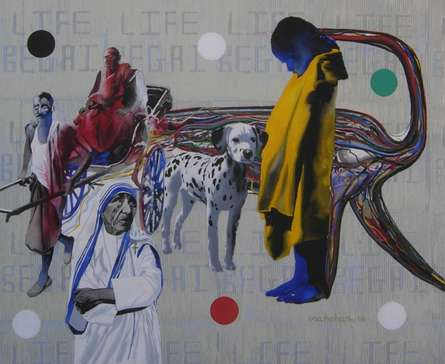 Figurative Mixed-media Art Painting title 'Mother Teresa' by artist Manohar Rathod