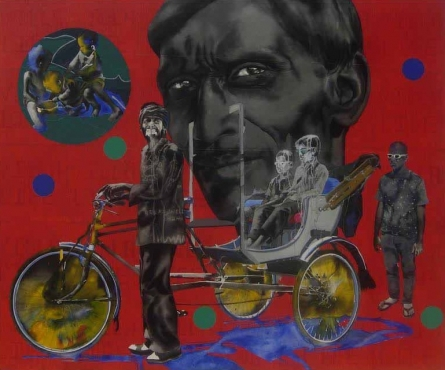 My Village   Painting by artist Manohar Rathod   acrylic   Canvas