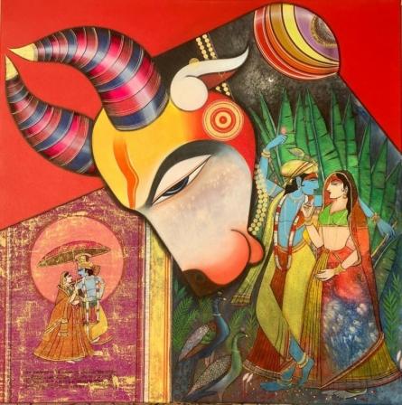 Religious Acrylic Art Painting title Kamdhenu 1 by artist Ashok Rathod