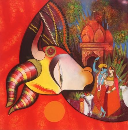 Religious Acrylic Art Painting title Kamdhenu 3 by artist Ashok Rathod