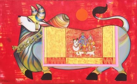 art, painting, acrylic, canvas, religious, nandi