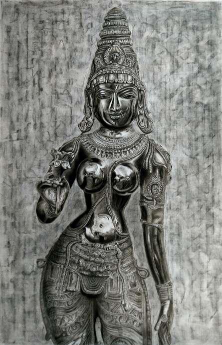 Figurative Charcoal Art Painting title 'Goddess Lakshmi' by artist Preeti Ghule
