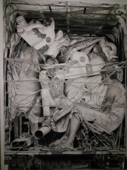 Preeti Ghule | Charcoal Painting title Life on paper | Artist Preeti Ghule Gallery | ArtZolo.com