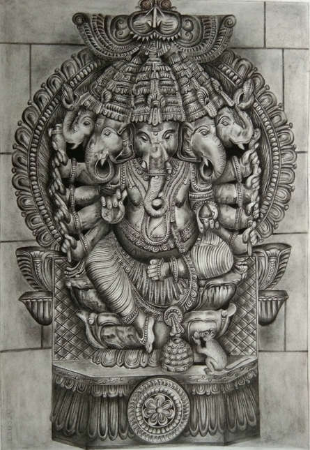 Charcoal Paintings | Drawing title Panchamukhi Ganesha on Paper | Artist Preeti Ghule