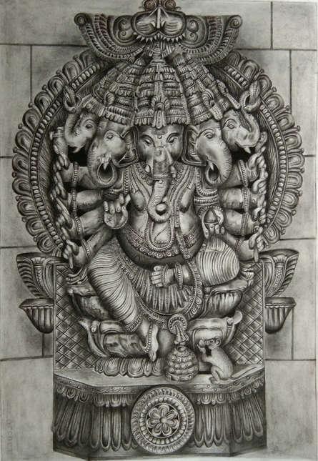 Religious Charcoal Art Drawing title 'Panchamukhi Ganesha' by artist Preeti Ghule