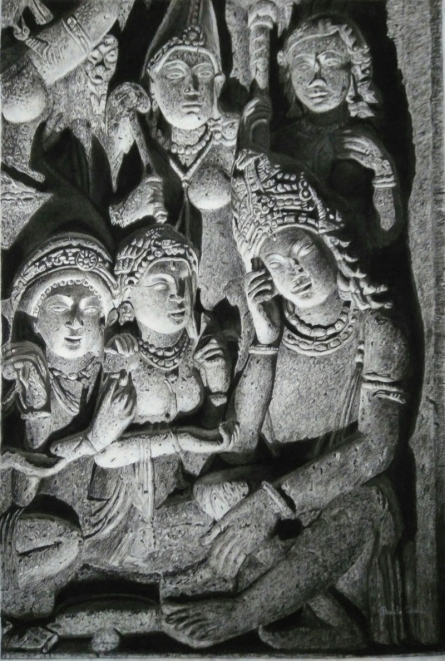 Preeti Ghule | Charcoal Painting title Ancient Relic 2 on Paper | Artist Preeti Ghule Gallery | ArtZolo.com