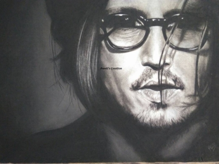 Portrait Charcoal Art Painting title Johnny Depp by artist Preeti Ghule
