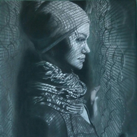 Expressionist Charcoal Art Painting title 'Lady' by artist Preeti Ghule