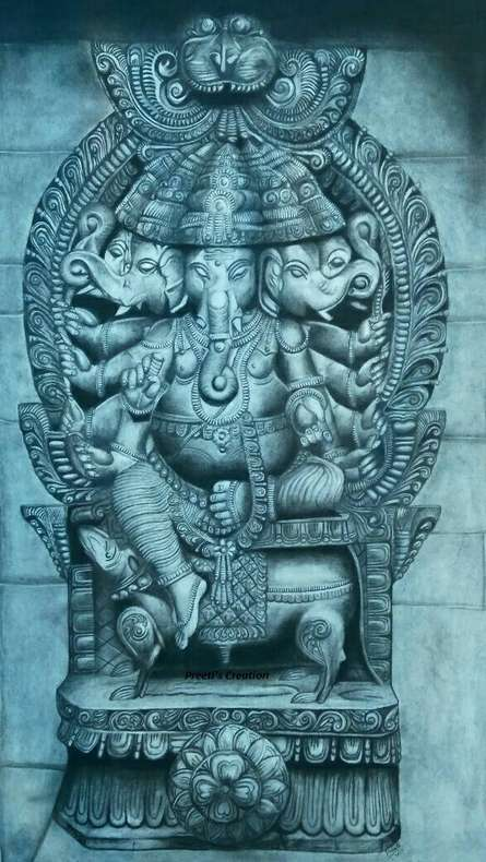 Religious Charcoal Art Painting title Lord Ganesha by artist Preeti Ghule