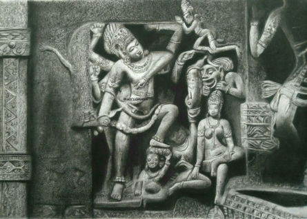 Religious Charcoal Art Painting title 'Ancient Relic 1' by artist Preeti Ghule