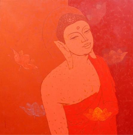 Mogglan shravasti | Acrylic Painting title Karuna on Canvas | Artist Mogglan shravasti Gallery | ArtZolo.com