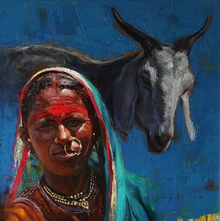Animals Oil Art Painting title 'Pastoral Hues 2' by artist Parag Borse