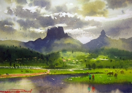 Landscape Watercolor Art Painting title Chanderi Fort by artist RAKESH SURYAWANSHI